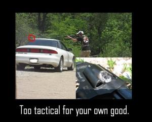 man shoots revolver with shotgun