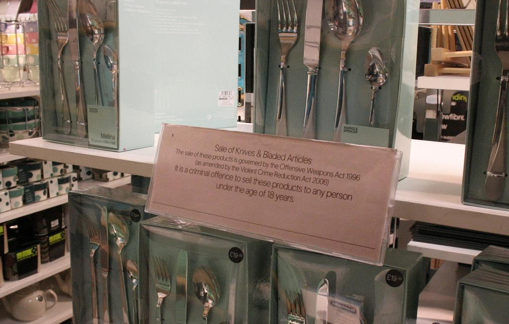 Kitchen knives and forks banned in the UK