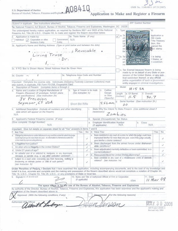ATF Form 1 – Zombies
