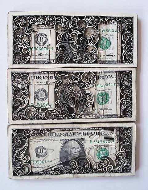 The Hollywood Gossip: dollar bill artwork