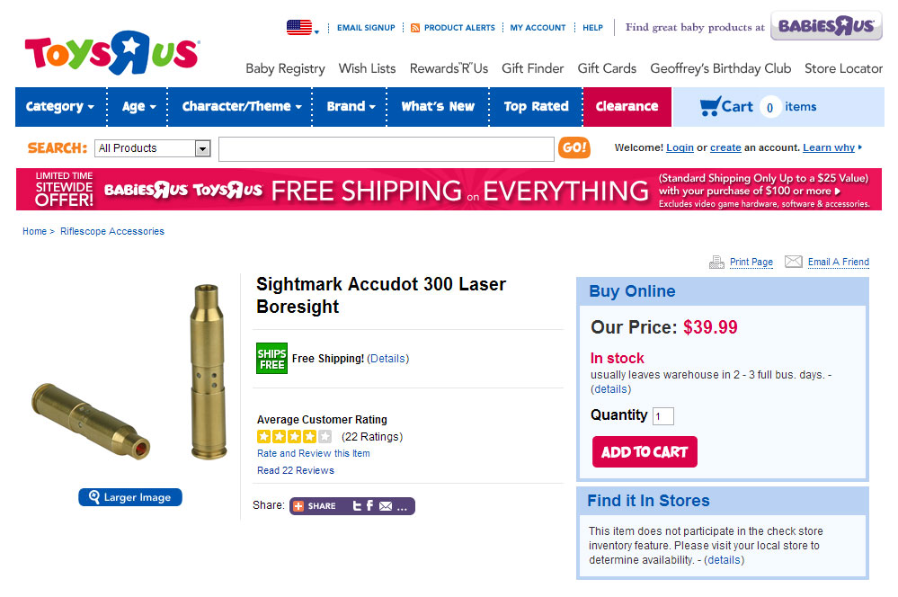 Laser Bore Sight At Toys R Us
