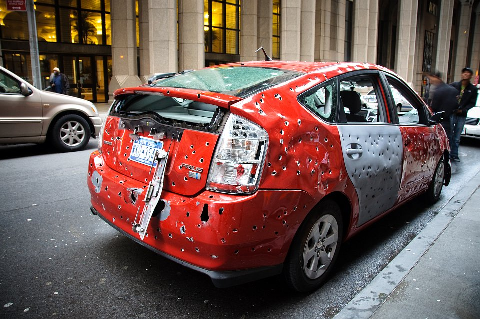 Toyota Prius Full Of Bullet Holes