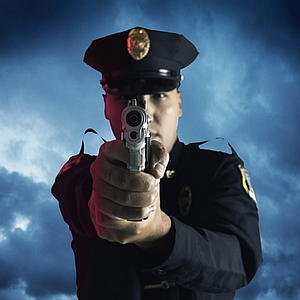 Police shooting gun at you