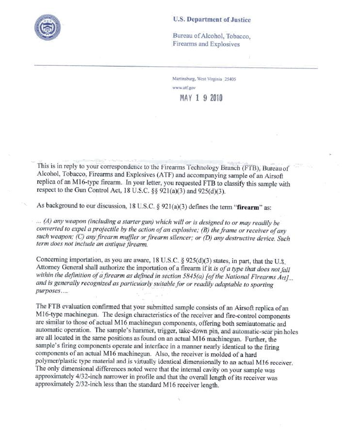 Us Customs Seizure Letter.Atf Decrees An Airsoft Rifle A Real Firearm