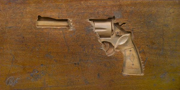 Guns Carved Into Wooden School Desks