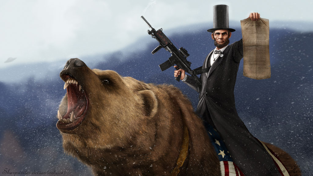 http://www.everydaynodaysoff.com/wp-content/uploads/2011/01/Abe-Lincoln-Riding-Grizzly-Bear-Holding-Gun.jpg