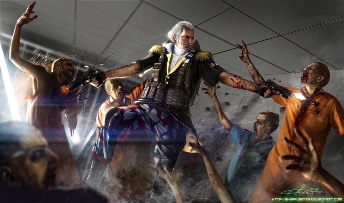 Star Wars Stormtroopers Fantasy Art Artwork Bwing Down: George Washington Shooting Zombies