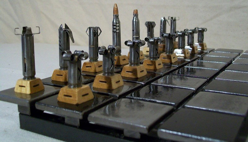 Steel And Rifle Cartridges Chess Set Made For A Boss