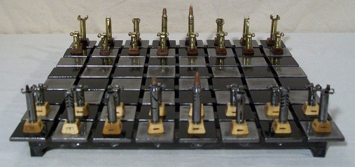Steel Chess Set steel and rifle cartridges – chess set made for a boss