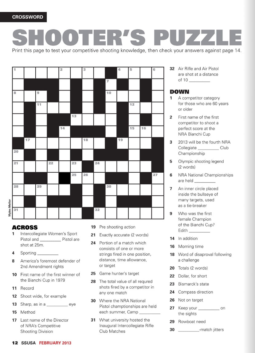 Friday Shooting Crossword Puzzle To Kill Time On The Work ...